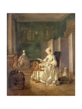 Interior with Two Figures, 18th Century Giclee Print by Etienne Jeaurat