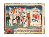 Ms Fr 2810 Fol.274 Pilgrims in Front of the Church of the Holy Sepulchre of Jerusalem, from… Giclee Print by  Boucicaut Master