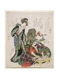 Ichikawa Danjuro and Ichikawa Monnosuke as Jagekiyo and Iwai Kumesaburo, 1824 Giclee Print by Katsushika Hokusai
