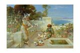 Children by the Mediterranean Impression giclée par William Stephen Coleman