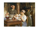 The Midday Meal, Detail of Feeding the Baby, (Detail) Giclee Print by Léon Augustin L'hermitte