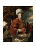 Portrait of a Gentleman in Oriental Dress with an Oriental Pageboy Giclee Print by Benjamin Wilson