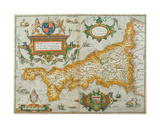 Map of the County of Cornwall, 1579 Giclee Print by Christopher Saxton