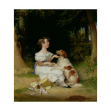 A Young Girl with Her Spaniel, 1832 Giclee Print by Alexander Mosses