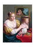 Girl with a Mirror, an Allegory of Profane Love, 1627 Giclee Print by Paulus Moreelse