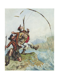 Mr Lovejoy's Holiday Trip to the Highlands Salmon Trout Fishing, from a Series of Eight Giclee Print by Ernest Henry Griset
