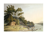 A Korah Hottentot Village on the Left Bank of the Orange River, Plate 1 from 'African Scenery and… Giclee Print by Samuel Daniell
