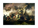 The Cutting-Out of the French Corvette, 'La Chevrette', 21st July 1801 Giclée-tryk af Philip James De Loutherbourg