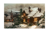 Church and Cottage with Lighted Windows Giclee Print by  English School
