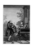 Leopold Mozart (1719-87) and His Two Children, Wolfgang Amadeus (1756-91) and Maria-Anna… Giclee Print by Louis Carrogis Carmontelle
