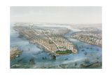 Aerial View of New York and Brooklyn, Engraved by T.H Muller, Pub. by L. Turgis, Paris, 1855 Giclee Print by Simpson (After)