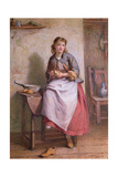 Girl Peeling Potatoes Giclee Print by William Harris Weatherhead