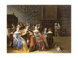Elegant Company Merrymaking in an Interior Giclee Print by Anthonie Palamedesz
