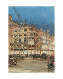 Construction of the New Building for Bourne and Hollingsworth, Oxford Street, London Giclee Print by Charles Edward Dixon