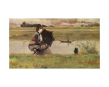 Fishing on the Seine Giclee Print by Federigo Zandomeneghi