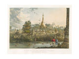 View of the Great Dagon Pagoda at Rangoon from the West, Engraved by Henry Pyall (1795-1833)… Reproduction procédé giclée par Joseph Moore