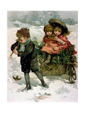 Gathering Holly, Victorian Card Giclee Print by Lizzie Mack