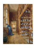 Interior of a Panelled House with a Collection of Imari and Blue and White Porcelain Giclee Print by Ellen Clacy