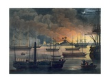 The Conflagration of Dalla on the Rangoon River, Plate 17 from 'Rangoon Views', Engraved by… Giclee Print by Joseph Moore