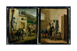 Don Quixote Hanging from the Window and Preparing His Armour, Two Scenes from the Novel by… Giclee Print by Zacarias Gonzalez Velazquez