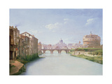 View of the Ponte and Castel Sant'Angelo in Rome Giclee Print by Christoffer-wilhelm Eckersberg