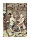 The Patriotick Barber of New York, or the Captain of the Suds, 18th Century Giclee Print by Robert Dighton