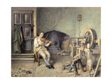 Samuel Crompton (1753-1827) Inventing His Spinning Mule, 1895 Giclee Print by Alfred Walter Bayes