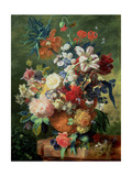 Still Life of Flowers and a Bird's Nest on a Pedestal Giclee Print by Jan van Huysum