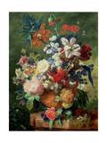 Still Life of Flowers and a Bird's Nest on a Pedestal Giclee Print by Jan van Huysum