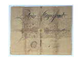 Deed Signed by Peter Stuyvesant, Director General of New Netherland, 15th May 1664 Giclee Print