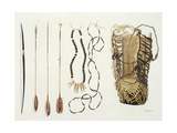 Weapons, Tools and Jewellery of Puri and Botocudos Tribes, Rio Grande Region, Paraguay and… Giclee Print by Paolo Fumagalli