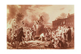 Pulling Down the Statue of George III in the Bowling Green in 1776, Engraved by John C. Mcrae Giclee Print by Johannes Adam Simon Oertel