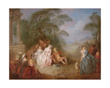 A Gathering in a Park Giclee Print by Jean-Baptiste Joseph Pater