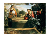 Christ and the Woman of Sarnaca, 17th Century Giclee Print by Giovanni Lanfranco