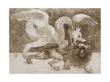 Fight Between a Dragon and a Lion Giclee Print by Leonardo Da Vinci