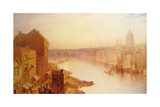 St. Paul's Cathedral: from Southwark Bridge, 19th Century Giclee Print by Charles Claude Pyne