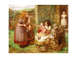 Bubbles: Cottage Scene with Children at Play, 1856 Giclee Print by John Dawson Watson