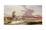 Winter Sunset on the Norfolk Coast Giclee Print by Henry Bright