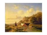 A Shepherd with Animals Giclée-Druck von Eugene Joseph Verboeckhoven