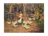 Feeding the Ducks Giclee Print by Joseph Harold Swanwick