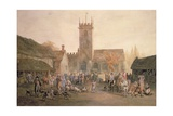Pigmarket in the Yard of the Fountain Inn, Bedford, 1806 Giclee Print by William Henry Pyne