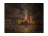 The Waterworks at London Bridge on Fire in 1779 Giclee Print by William Marlow