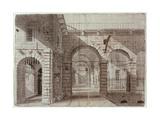 Newgate Prison Courtyard Giclee Print by John Claude Nattes
