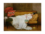Girl in a White Dress Resting on a Sofa Giclee Print by Alfred Emile Stevens