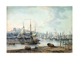 Towing a Warship Out of Bristol Harbour, 1783 Giclee Print by Nicholas Pocock