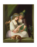 Two Women Reading a Letter Giclee Print by Ludwig Guttenbrunn