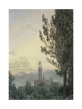 The Palazzo Vecchio from the Boboli Gardens, Florence Giclee Print by John Robert Cozens