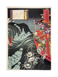 Yoshitsune, with Benkei and Other Retainers in their Ship Beset by the Ghosts of Taira, 1853 Giclee Print by Kuniyoshi Utagawa