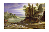 Landscape with Shepherds and the Supper at Emmaus Giclee Print by Marten Ryckaert