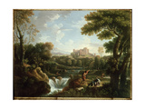 Arcadian Landscape with Shepherds Giclee Print by Jan Frans van Bloemen